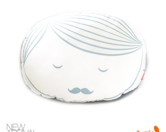 Limited Edition Guy Face Plush Pillow in Light Grey Blue Print