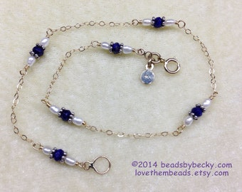 14K yellow Gold Chain Anklet w Lapis and Pearls, dark blue lapis and tiny white seed pearls, dainty, sexy gold and silver bracelet, necklace