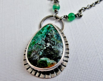 Sonora Sunrise Jasper Necklace -Sterling Silver with Jade Gemstone Cabochon Art Jewelry