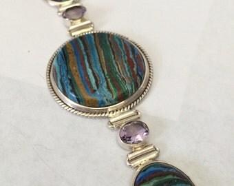 Rainbow Cal Silica Amethyst Sterling Silver Bracelet
