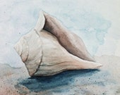 "Seashell on the Beach Original Watercolor Painting 10"" x 10"" by Mary Rogers"