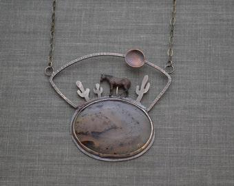 Horse in Desert Necklace