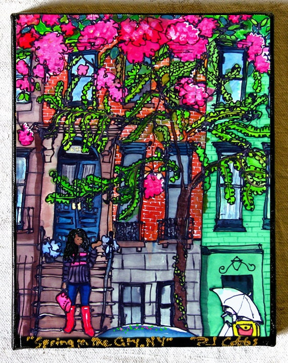 Print on Canvas Giclee Wall Art Cherry Blossoms NYC Brownstones Spring Sex and the City Girl Rainy Day Umbrella