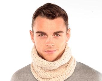 Cream snood, Cream Alpaca Cowl, Handknitted Snood in Alpaca Wool, Wool scarf Chunky Knit Cowl, infinity scarf