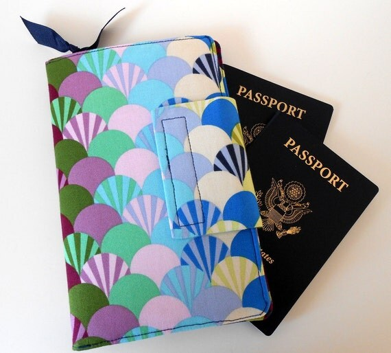 Travel or Passport Organizer Wallet Trula Pink Parisville,Purple dots, Navy