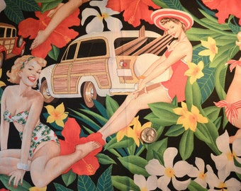 "The Alexander Henry ""Aloha Girls"" Fabric Collection 2006 Pin ups and Vintage Cars"