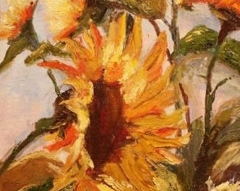 Look to the Sky 8x10 Canvas Giclee of Original Sunflower Oil Painting by Kathleen Farmer Denver Artist