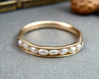 solid 14k gold petite pearl stack ring