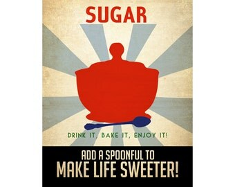 Sugar 24x36 Poster, Kitchen Art Print, Vintage Style Propaganda Poster Sugar Bowl Spoon Retro Modern Addictions Geek Chic Decor Cooking