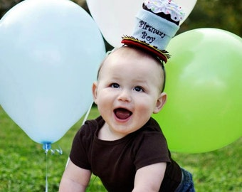 Handcrafted Birthday Boy Cupcake Hat made in USA by Sew Cute Sweets