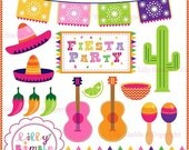 50% off sale Fiesta Party clipart for invitations, cards, and party decor cactus, peppers, picado, maracas, sombreros DIGItAL