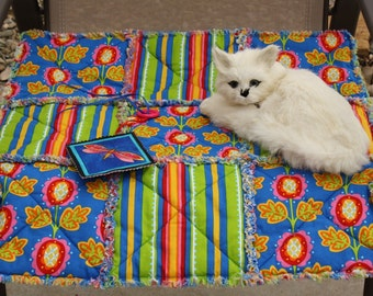 Colorado Catnip Blanket in Bright Blue and Lime Green