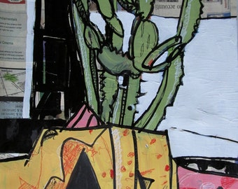 Cactus, Original Still Life Painting on Paper, Stooshinoff