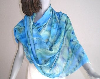Hand Painted Shawl, Silk Chiffon Wrap, Sheer Coverup, Hand Dyed Shawl, Cobalt Royal, Ocean Blues, Aqua Moss Accents, Hand Made, Jossiani