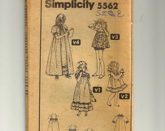 Simplicity Child Nightgown Pattern 5562