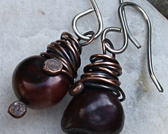 Pearl Earrings Pearls Copper Earrings