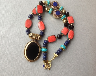 Eclectic Onyx Nepalese pendant necklace