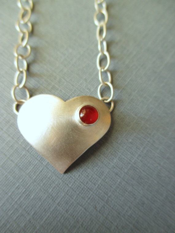 Love Necklace- Heart -Sterling and Fine Silver -Shown with Red Carnelian - Pick Stone of Your Choice