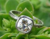 Engagement Ring - Forever Brilliant Moissanite (Square Cushion Cut) and Recycled 950 Palladium, with Hybrid Peekaboo Bezel, Made to Order