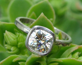 Engagement Ring - Forever One G-H-I Moissanite (Square Cushion Cut) and Recycled 950 Palladium, with Hybrid Peekaboo Bezel, Made to Order