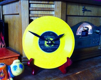 Marianne - Yellow Clock made from Vintage Children's Golden Record - Nursery Decor - Baby Gift