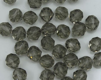 Swarovski 5025 6mm Black Diamond Round Faceted Bead