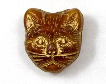 12mm Brown/Gold Cat Face Bead (4 Pcs) #1968