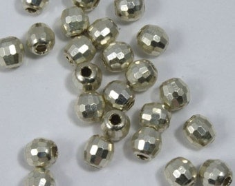 Sterling Silver 3mm Faceted Round Bead  #BSA081