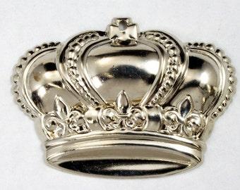 35mm Silver Crown Charm (2 Pcs) #2355