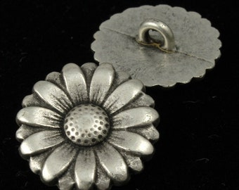 19mm Antique Silver Daisy Button (2 Pcs) #1554