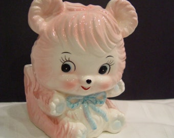 Pink teddy bear Japan nursery planter