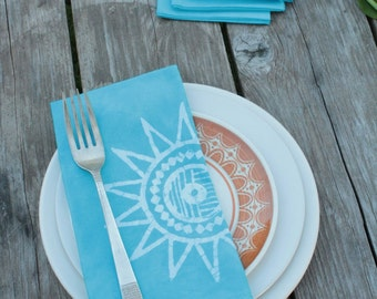 turquoise sun napkins. set of six