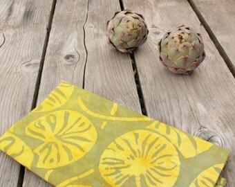 yellow and olive lilypads batik towel