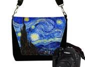 Slr Camera Bag for Women Van Gogh Starry Night Nikon Canon DSLR Case, Messenger Bag Purse, Zipper Pocket, blue yellow black RTS