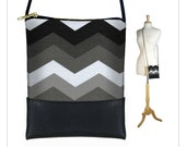Mini Cross Body Bag, Shoulder Bag Purse, Smartphone Purse will fit iPhone 6 Plus, Black, White and Grey Chevron  MTO