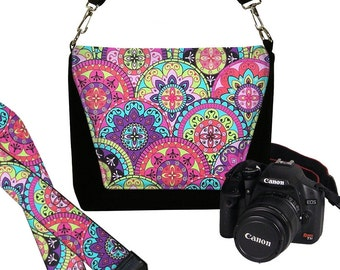 SET Paisley Dslr Camera Bag and Dslr Camera Strap, Camera Bag Slr and Camera Neck Strap, pink purple green aqua MTO