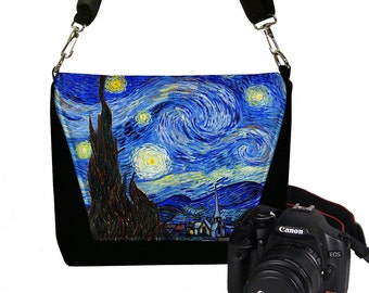 Slr Camera Bag for Women Van Gogh Starry Night Nikon Canon DSLR Case, Messenger Bag Purse, Zipper Pocket, blue yellow black RTS