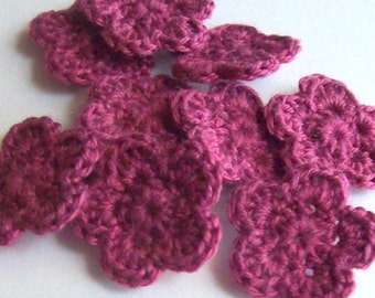 Mini Crochet Flower Appliques, 10 Burgundy Embellishment Embellishment, Scrapbooking On Etsy