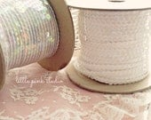 Vintage Sequin Trim, Pearl White or Iridescent Clear (2 yard packages)