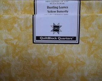 Fat Quarter Jo-Ann Block of the Month Rustling Leaves Yellow Butterfly Cotton