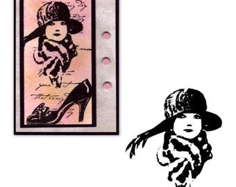 Flapper Lady with Scarf and Hat, small, unmounted rubber stamp No.2