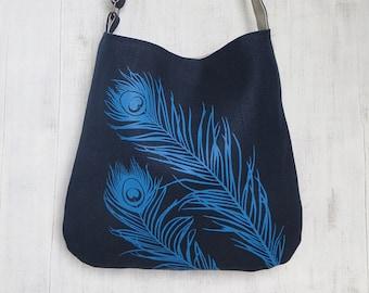 Navy Tote Handbag - Shoulder Messenger Bag for Women - Peacock Feathers Screen Printed Hemp Bag - Crossbody Bag - Fabric Tote