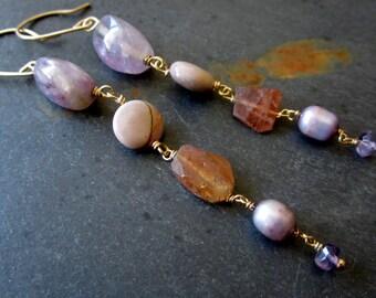 My Heart - Ombre Nexus - Lavender - Mauve - Earrings - Gemstone - Amethyst - Tourmaline - Moukaite - Pearls - Gold - catROCKS - Elegant