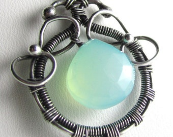 Chalcedony, FIne Silver And Sterling Wrapped Necklace