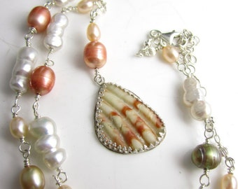 Sea Fan Necklace - Shell Piece Set in Sterling with Hand Linked Chain of Pearls