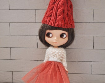 Babydoll Pom-Pom Hat for Blythe Doll-Rust