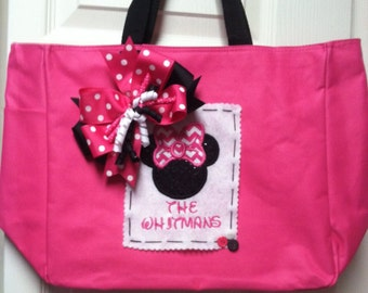 Boutique Personalized Hot Pink Mouse Head Tote Bag