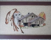 Vintage Owl and Weathered Barn Framed Counted Cross Stitch Picture 10 x 16 Inches Rustic Cabin Woodland Decor