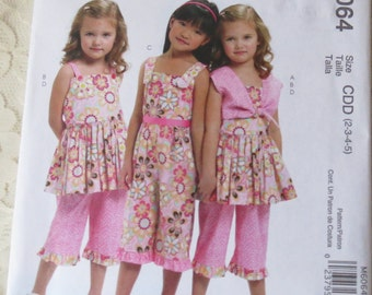McCalls M6064 Sewing Pattern Shrug Tops Dress Capri Pants for Girls Size CDD 2-5