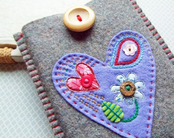 Kindle/E Reader Case - Felt Love Heart